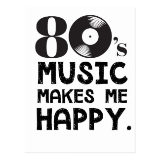 80S Music Make Me Happy Postcard