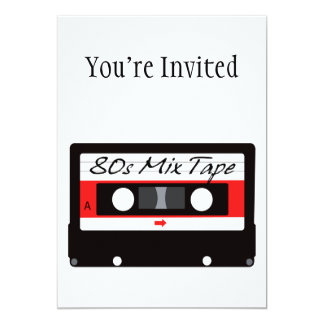80s Music Mix Tape Cassette 5x7 Paper Invitation Card