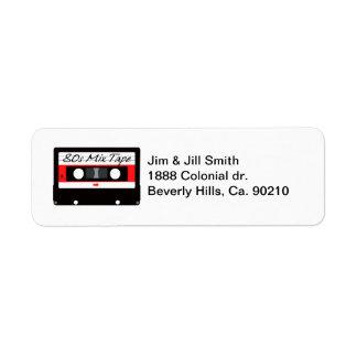 80s Music Mix Tape Cassette Label