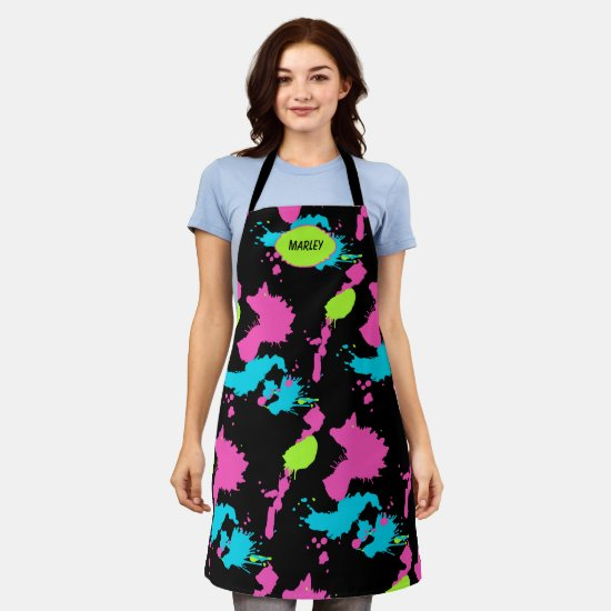 80s Neon Paint Splatter Colorful Add Name Artistic Apron
