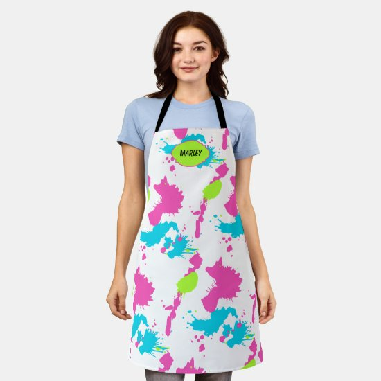 80s Neon Paint Splatter Colorful Add Name Crafting Apron