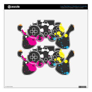 80's Neon Paint Splatter Sony PlayStation 3 Decal For PS3 Controller