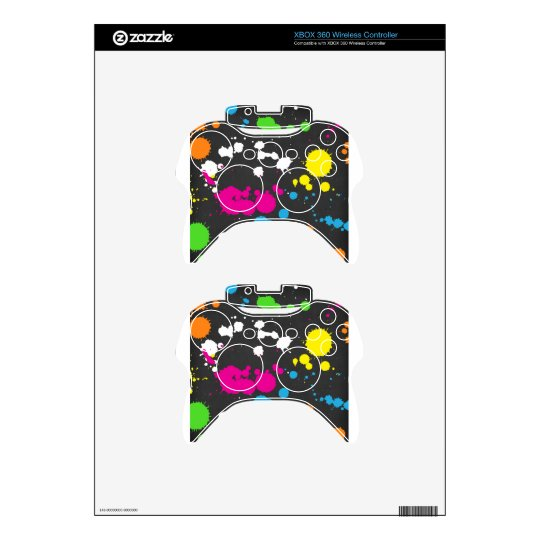 80's Neon Paint Splatter Xbox 360 Controller Decal