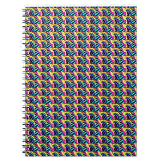 80s Neon Rainbow Pattern Notebook