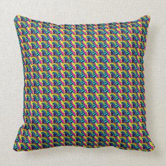 80s Neon Rainbow Pattern Throw Pillow