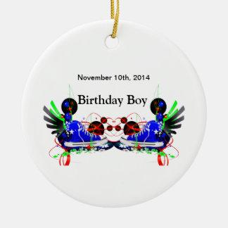 80's Neon Sneakers It's My Birthday Date Ceramic Ornament