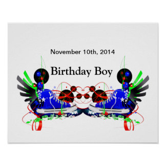 80's Neon Sneakers It's My Birthday Date Poster