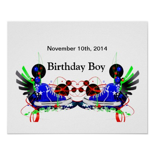 Birthday Date Poster: 80's Neon Sneakers It's My Birthday Date Poster