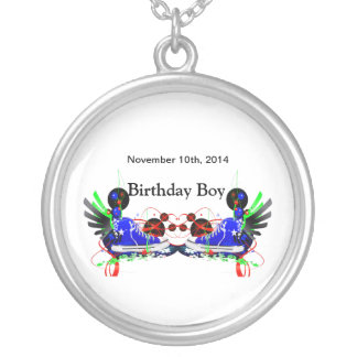 80's Neon Sneakers It's My Birthday Date Silver Plated Necklace