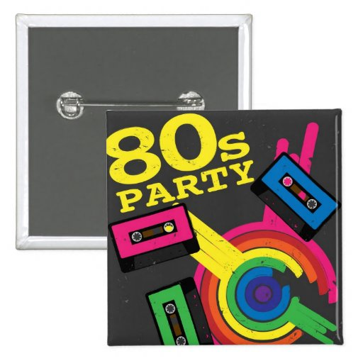 80s party 2 inch square button