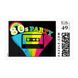 80s Party Background Postage Stamp