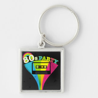 80s Party Background Silver-Colored Square Keychain