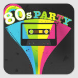 80s Party Background Stickers