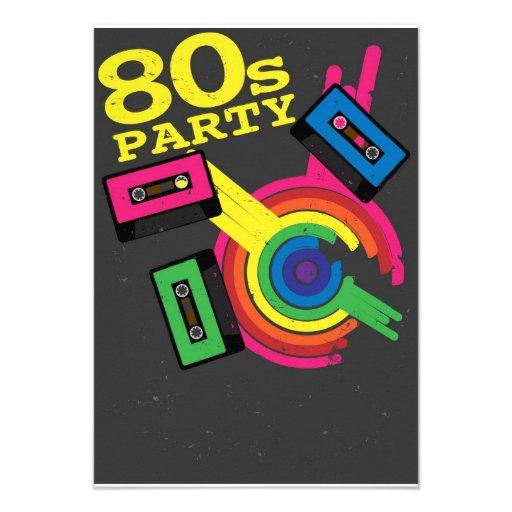 80s party custom invites