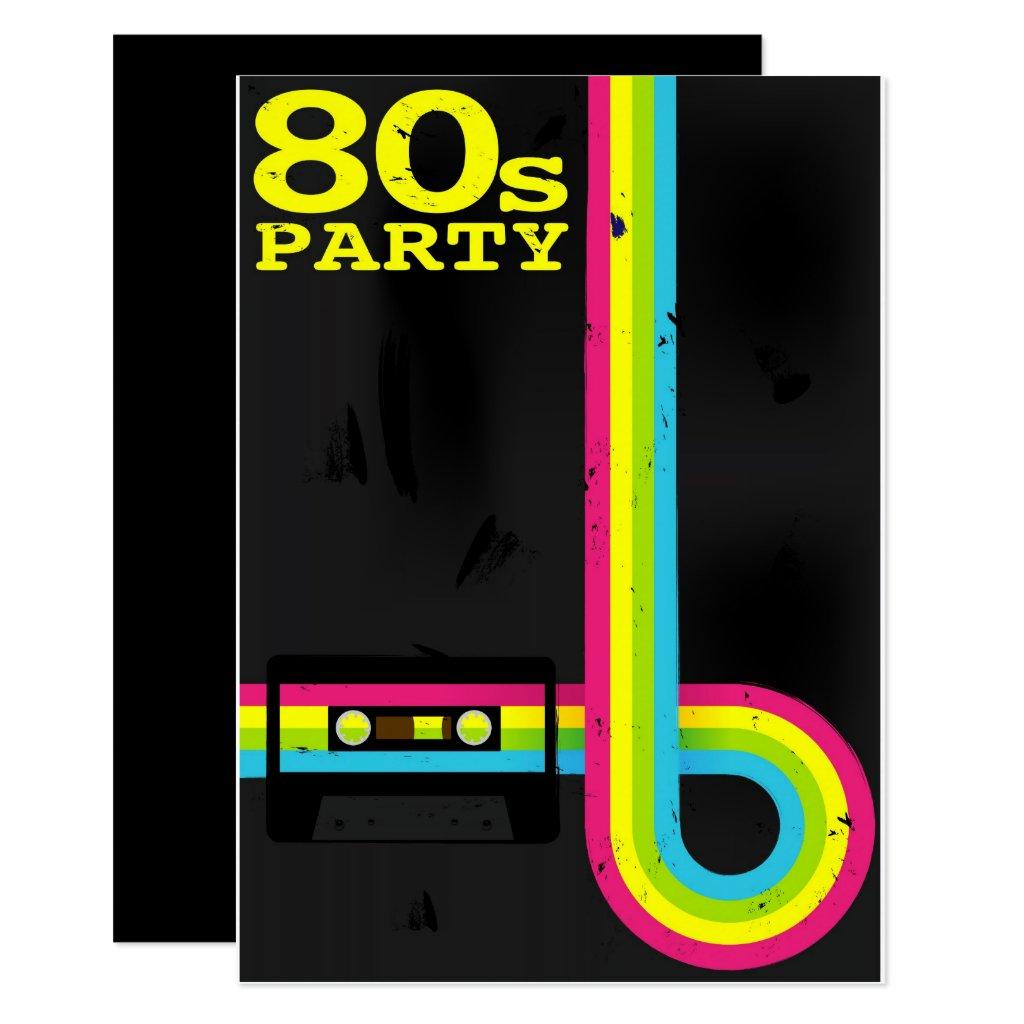 1980 S Party Invitations Retro Invites