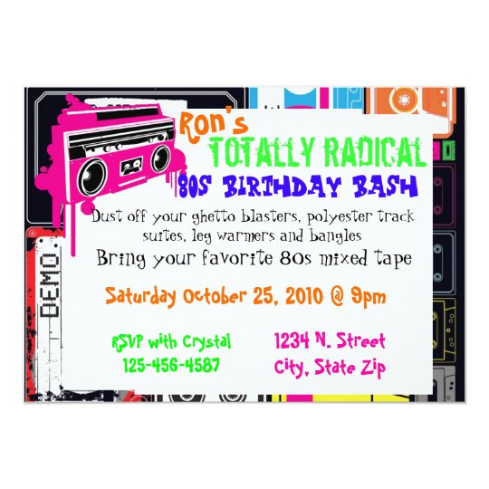 80s party invitation part duex Zazzlecom