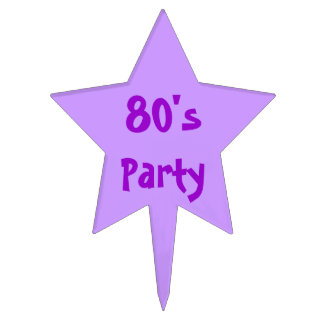 80's party star cake topper