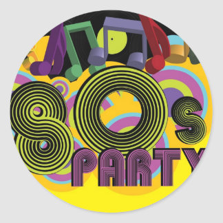 80s Party Classic Round Sticker