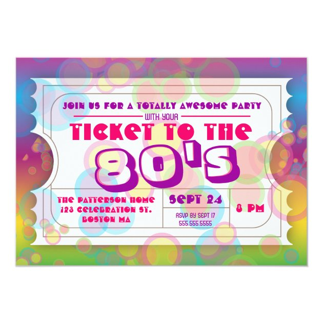 80's Party Ticket Admission Invitation   Zazzle.com