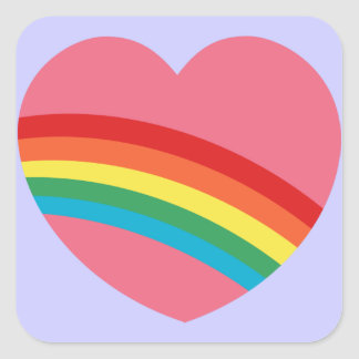 80s Rainbow Heart Stickers