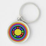 80s rainbow hearts keychain