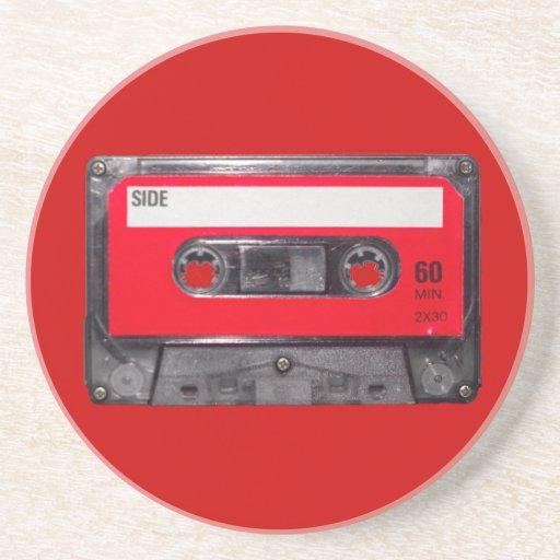 80's Red Label Cassette Beverage Coaster