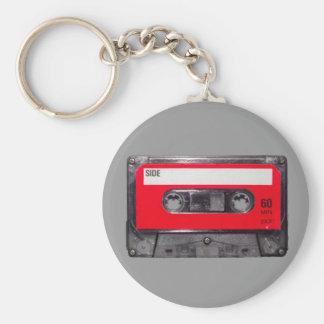 80's Red Label Cassette Basic Round Button Keychain