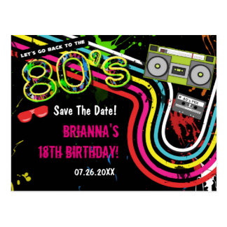 80's Retro Birthday Party Save The Date Postcard