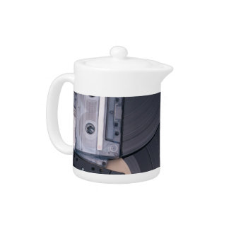 80's Retro Cassette Tapes and Vinyl Records Teapot
