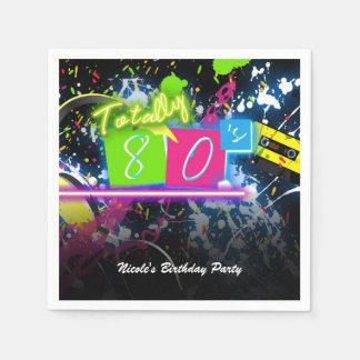 80's Retro Fun Birthday Party Neon Glow Splatter Napkin