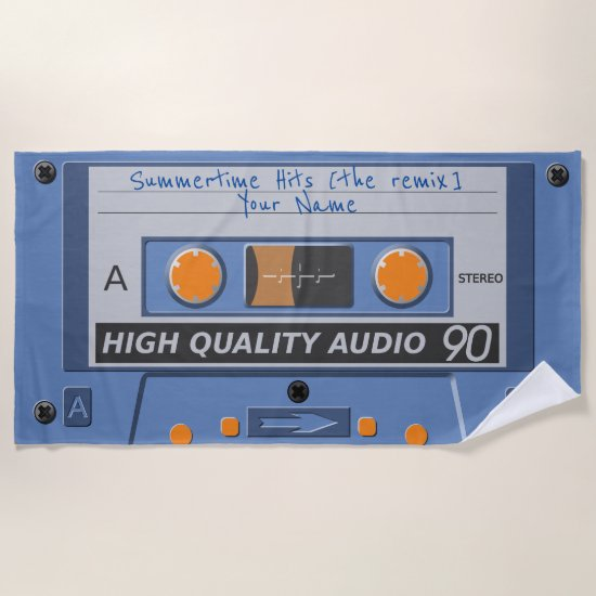 80s retro music cassette (mixtape) beach towel