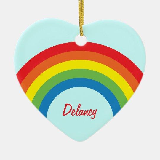 80's Retro Rainbow Heart Name Ornament