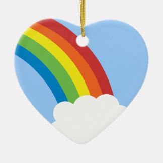 80's Retro Rainbow Heart-Shaped Ornament