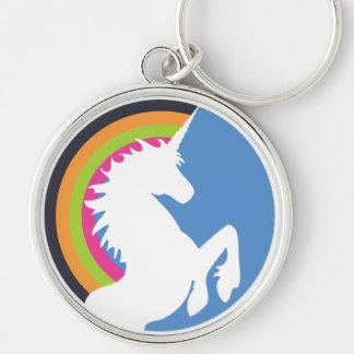 80's Retro Unicorn and Rainbow Keychain