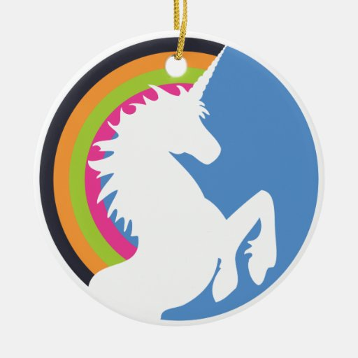 80's Retro Unicorn and Rainbow Ornament