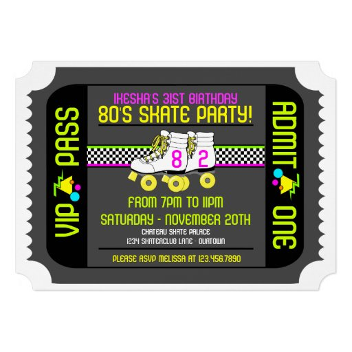 80s Rollerskate Ticket Style Party Invitations