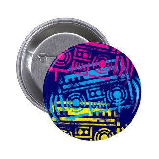 80's Stenciled Boomboxes Pinback Button