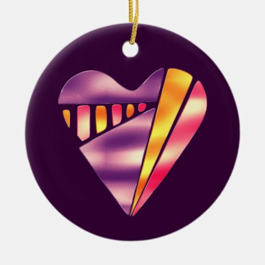 80's Style Pink and Purple Love Heart Ceramic Ornament