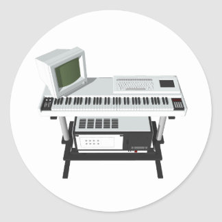80's Style Sampler Keyboard: 3D Model: Classic Round Sticker