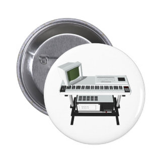80's Style Sampler Keyboard: 3D Model: Pinback Button