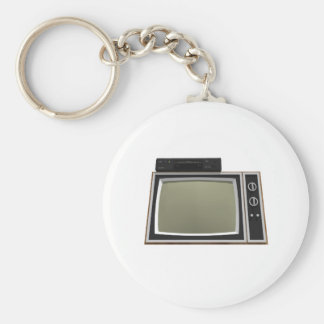 80's Style TV and VCR: 3D Model Basic Round Button Keychain