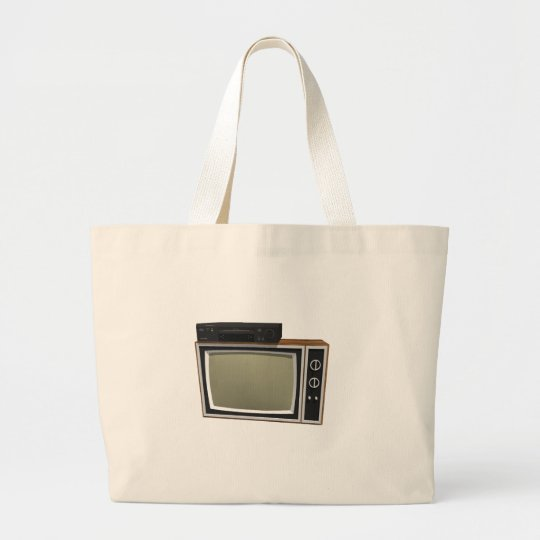 80's Style TV and VCR: 3D Model Large Tote Bag
