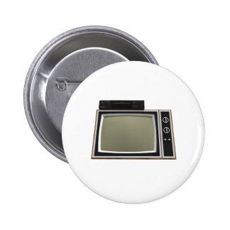 80's Style TV and VCR: 3D Model Pinback Button