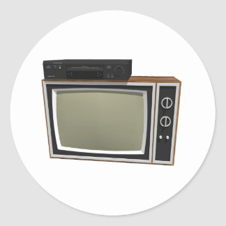 80's Style TV and VCR: 3D Model Classic Round Sticker
