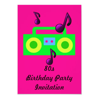 80s themed party invitation 80s boombox fluoro