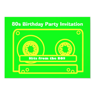 80s themed party invitation 80s hits tape