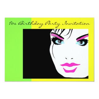 80s themed party invitation 80s retro girl pop art
