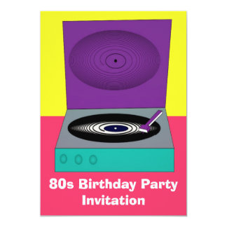 80s themed party invitation 80s retro turntable