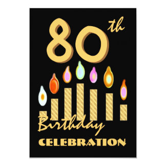 80th - 89th Birthday Party Invitation Gold Candles