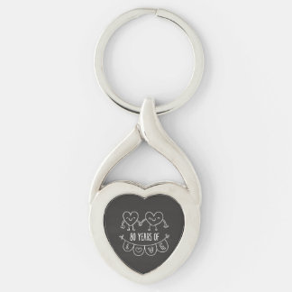 80th Anniversary Gift Chalk Hearts Keychain